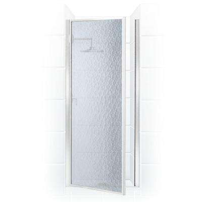 Legend Series 24 in. x 64 in. Framed Hinged Shower Door in Chrome with Obscure Glass