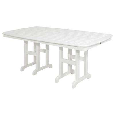 Yacht Club 37 in. x 72 in. Classic White Patio Dining Table