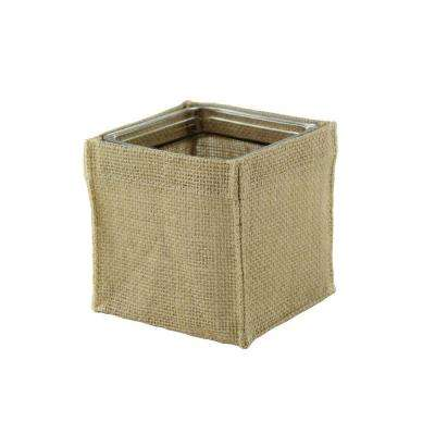 4 in. Square Burlap with Glass Vase