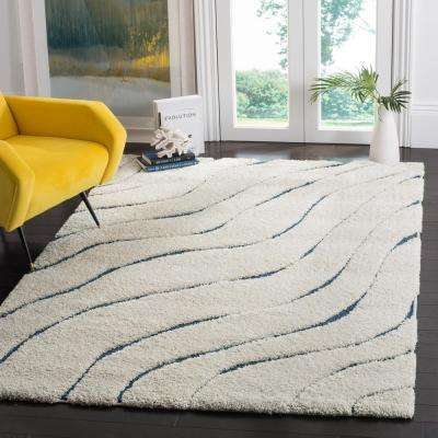 Florida Shag Cream/Blue 3 ft. 3 in. x 5 ft. 3 in. Area Rug