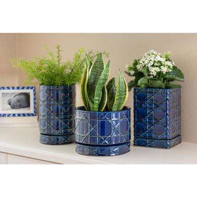 6 in. Cobalt Blue Carlysle Square Ceramic Planter