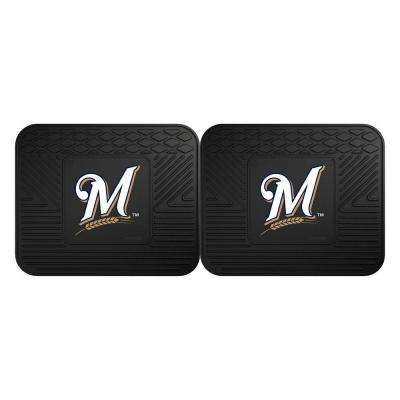 MLB Milwaukee Brewers Black Heavy Duty 2-Piece 14 in. x 17 in. Vinyl Utility Mat