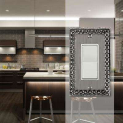 Amelia 1 Gang Rocker Metal Wall Plate - Antique Nickel