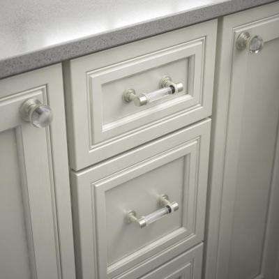 Classic 3 in. (76mm) Center-to-Center Satin Nickel and Clear Glass Bar Drawer Pull