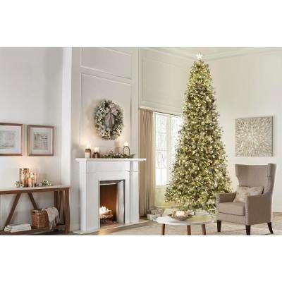 12 ft. Pre-Lit LED Flocked Lexington Pine Pencil Artificial Christmas Tree with 1100 Warm White Lights