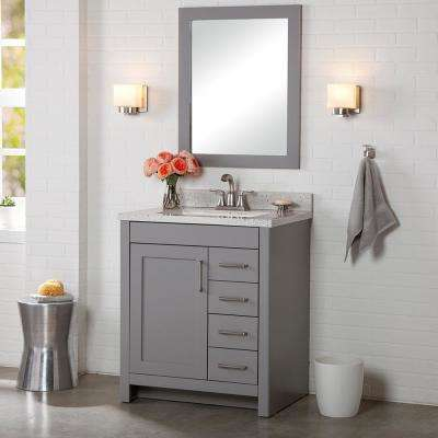 Westcourt 37 in. W x 22 in. D Bath Vanity in Sterling Gray with Solid Surface Vanity Top in Silver Ash with White Sink
