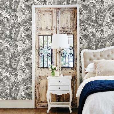 Alfresco Black Palm Leaf Black Wallpaper Sample
