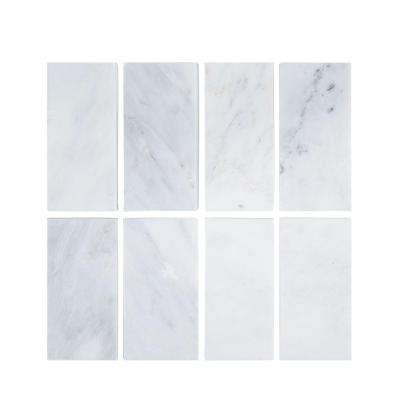 Carrara 3 in. x 6 in. x 8 mm Honed Marble Wall Tile (8-Pack)
