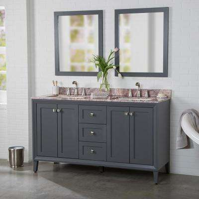 Austell 61 in. W x 22 in. D Bath Vanity in Graphite Gray with Stone Effects Vanity Top in Cold Fusion with White Sink