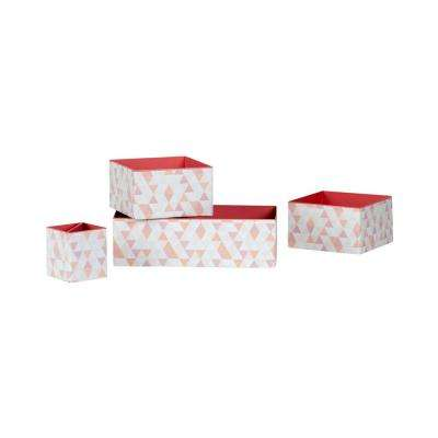 Storit Small White and Pink Cardboard Printed Boxes and Pencil Cup with Pattern 4-Pack