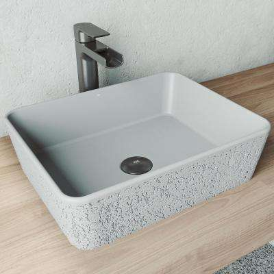 Zinnia Concrete Rectangular Vessel Bathroom Sink in Ash