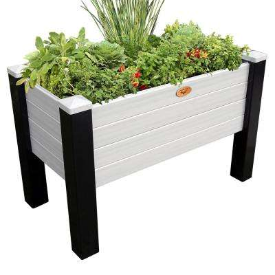 24 in. x 48 in. x 32 in. Maintenance Free Black and Gray Elevated Garden Bed