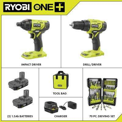 18-Volt ONE+ Cordless 2-Tool Combo Kit w/ (2) 1.5Ah Batteries, Charger & Bag w/ BONUS Impact Rated Driving Kit (70Piece)
