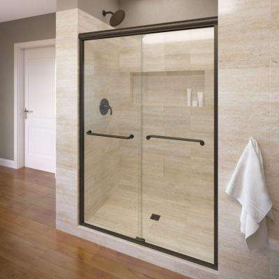 Infinity 58-1/2 in. x 70 in. Semi-Frameless Sliding Shower Door in Oil Rubbed Bronze with AquaGlideXP Clear Glass