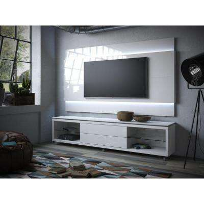 Lincoln 1.9 25-Disc Capacity TV Stand and Lincoln Floating Wall TV Panel with LED Lights in White Gloss