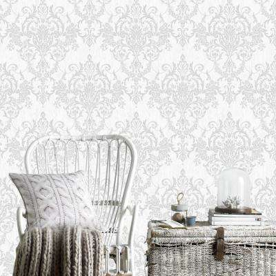 Empress Victorian Damask Silver Removable Wallpaper Sample