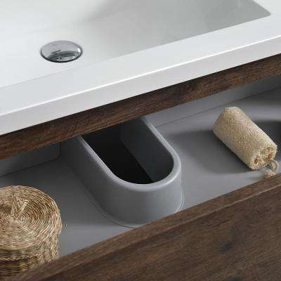 Lazzaro 60 in. Modern Double Bathroom Vanity in Rosewood with Vanity Top in White with White Basins and Medicine Cabinet