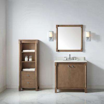 Breton 36 in. W x 22 in. D Vanity in Almond Toffee with Marble Vanity Top in White with White Basin