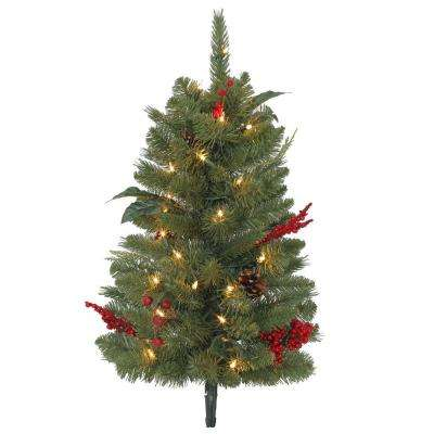 2 ft. Winslow Pathway Artificial Christmas Tree with 35 Clear Lights (Set of 3)