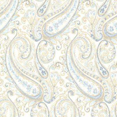 8 in. W x 10 in. H Penelope Blue Paisley Wallpaper Sample