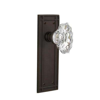 Mission Plate 2-3/8 in. Backset Oil-Rubbed Bronze Privacy Chateau Door Knob
