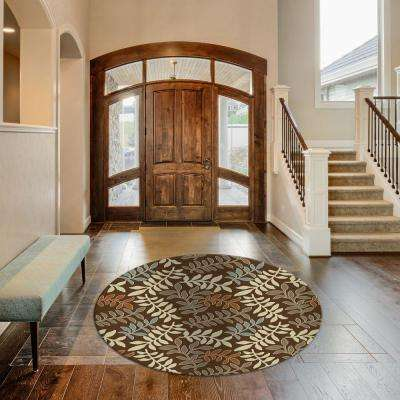 Chester Leafs Brown 8 ft. Round Area Rug