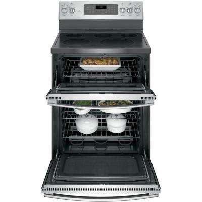 6.6 cu. ft. Double Oven Electric Range with Self-Cleaning and Convection Lower Oven in Stainless Steel