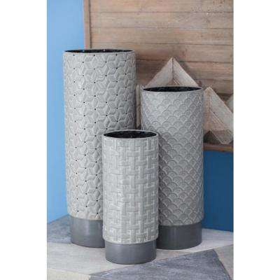 17 in., 13 in. and 10 in. Cylindrical Dark Gray Iron Decorative Vases with Embossed Pattern
