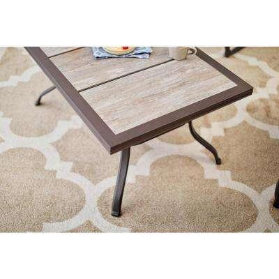 Crestridge Steel Outdoor Patio Coffee Table with Tile Top