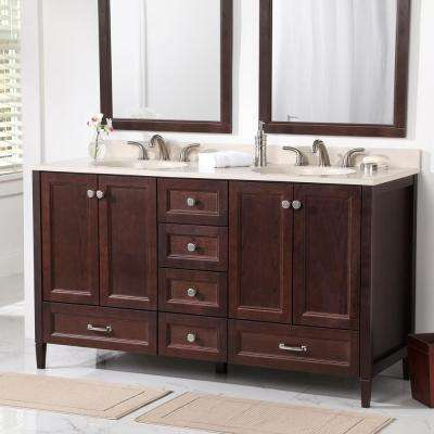 Claxby 60 in. W x 22 in. D x 34 in. H Bathroom Vanity Cabinet in Chocolate