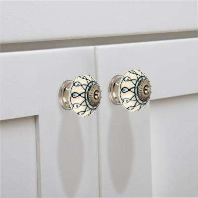 Elegant 1-3/5 in. (40mm) White and Green Cabinet Knob
