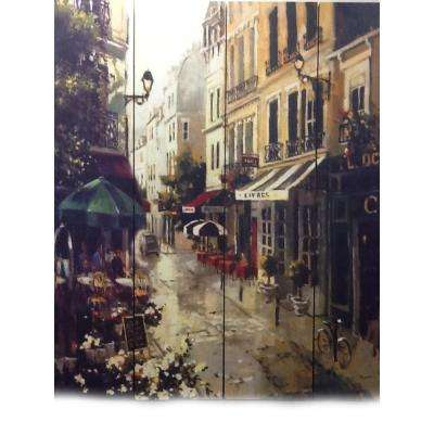 71 in. x 64 in. 4-Panel Victorian Town Printed on Canvas Room Divider