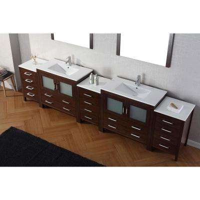 Dior 127 in. W Bath Vanity in Espresso with Ceramic Vanity Top in White with Square Basin and Mirror and Faucet