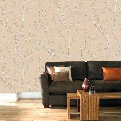 Evita Water Silk Sprig Rose Gold Wallpaper Sample