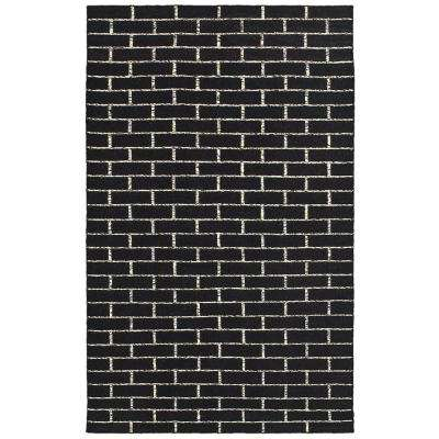 Tribeca Black/White Rectangle 8 ft. x 10 ft. Flat Weave Wool Dhurry Area Rug