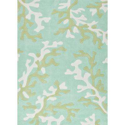 Coral Birds Egg Green 3 ft. 6 in. x 5 ft. 6 in. Coastal Area Rug
