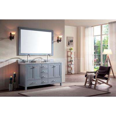 Cambridge 61 in. Bath Vanity in Grey with Marble Vanity Top in Carrara White with White Basins and Mirror