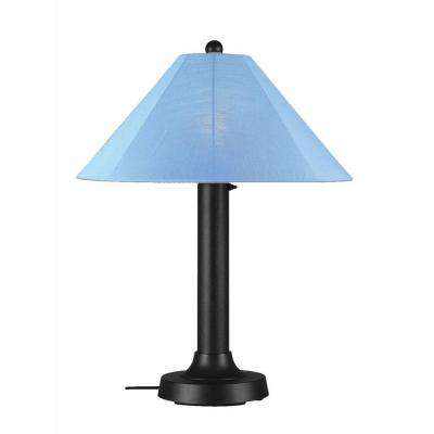 Catalina 34 in. Black Outdoor Table Lamp with Sky Blue Shade