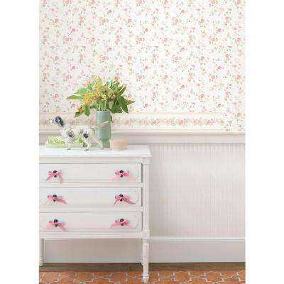 56 sq. ft. Alex Pink Delicate Satin Floral Trail Wallpaper