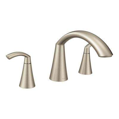 Glyde 2-Handle High-Arc Roman Tub Faucet in Brushed Nickel (Valve Not Included)
