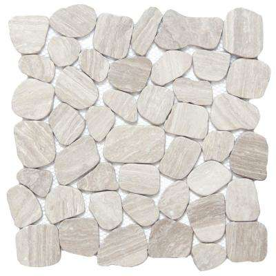 Cultura Cream Honed and Tumbled 11.81 in. x 11.81 in. x 8 mm Pebbles Mesh-Mounted Mosaic Tile (1 sq. ft.)