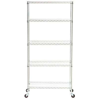 5-Tier 18 in. x 36 in. Commercial Wire Shelving System with Wheels