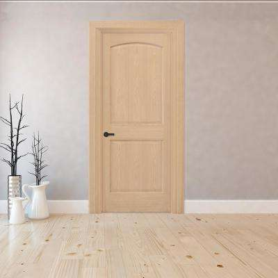 30 in. x 80 in. 2-Panel Round Top Right-Hand Unfinished Red Oak Wood Single Prehung Interior Door with Nickel Hinges
