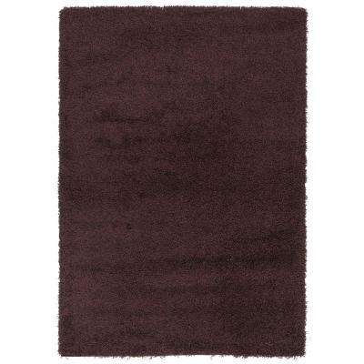 Cozy Shag Collection Brown 3 ft. 3 in. x 4 ft. 7 in. Indoor Area Rug