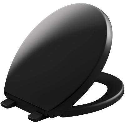Reveal Quiet-Close Round Closed Front Toilet Seat with Grip-tight Bumpers in Black Black
