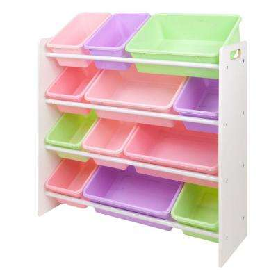 34 in. W x 31 in. H x 11 in. D Kids Storage Organizer with 12 Bins in White