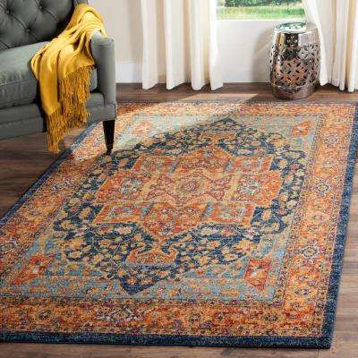 Evoke Blue/Orange 9 ft. x 12 ft. Area Rug