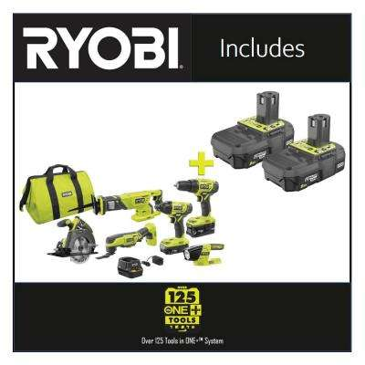 18-Volt ONE+ Lithium-ion Cordless 6-Tool Combo Kit with Bonus 18-Volt ONE+ 2.0 Ah Lithium-Ion Compact Battery (2-Pack)