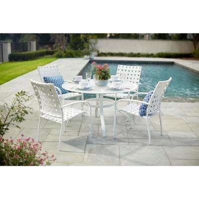 48 in. Commercial Aluminum Round Outdoor Patio Acrylic Top Dining Table in White