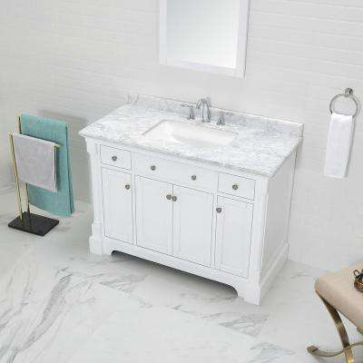 Claudia 48 in. W x 22 in. D Vanity in Pure White with Marble Vanity Top in Carrara with White Basin